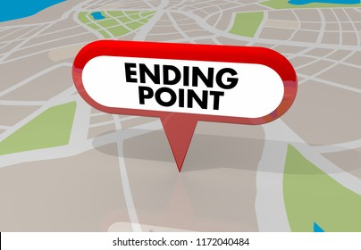 Ending Point Last Final Stop Spot Map Pin 3d Illustration