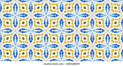 Endless Arabesque Tile. Rich Eastern Tiles. Colorful Geometric Watercolor Wallpaper. Repeated Geometric Painting. Seamless Vibrant Islamic Ceramic. Aztec Rug Majolica Style.