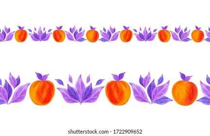 Endless border with apricots and violet leaves on a white background. Acrylic illustration for your design, wallpaper, background, fabric, textile, cafe, restaurant, resort, exotic, packaging.