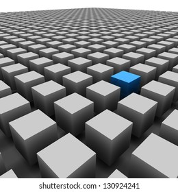 Endless Cube - Blue Cube Standing Out