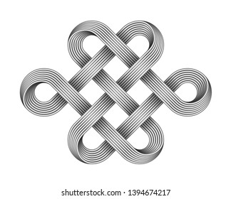 Endless knot made of crossed metal wires. Traditional buddhist symbol. 3D illustration isolated on white background.