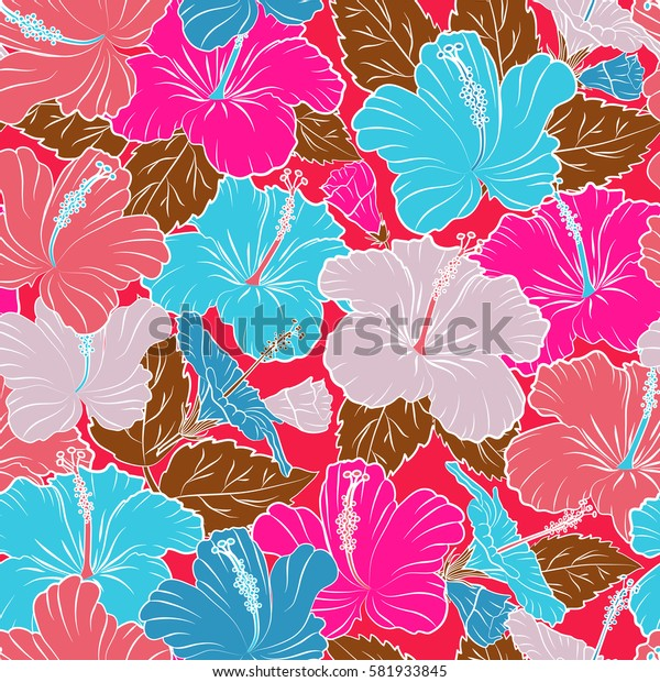 Endless texture for romantic design, decoration, greeting cards, posters, invitations, for textile print and fabric. Floral seamless pattern with bright summer flowers in pink, blue and violet colors.