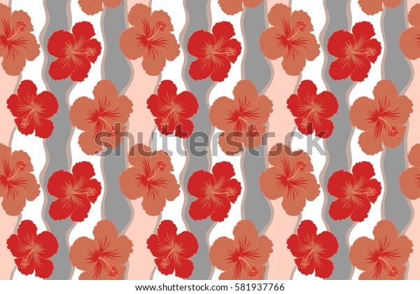 Endless texture for romantic design, decoration, greeting cards, invitations, advertisement, for textile print and fabric. Floral seamless pattern with bright summer flowers in orange and red colors.