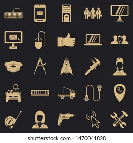 Endorsement icons set. Simple set of 25 endorsement icons for web for any design