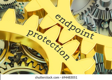 endpoint protection concept on the gearwheels, 3D rendering