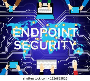 Endpoint Security Safe System Shows Safeguard Against Virtual Internet Threat - 3d Illustration