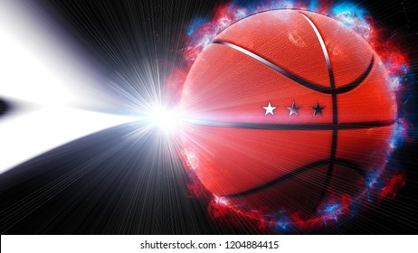 Energetic Red Basketball with white flash light under black background. 3D illustration. 3D high quality rendering.