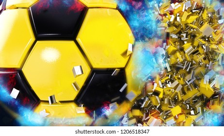Energetic Yellow-Black Soccer ball with white flash light under black background. 3D illustration. 3D high quality rendering.