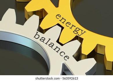 Energy Balance concept on the gearwheels, 3D rendering