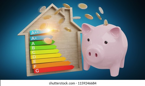 Energy chart rating and piggy bank illustration on blue background 3D rendering