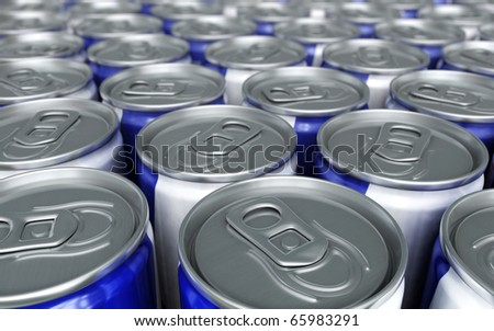 Energy Drinks Cans close-up