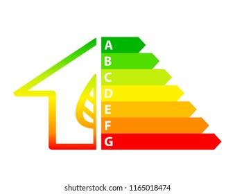 energy efficiency arrows and house icon ecology concept, stock illustration