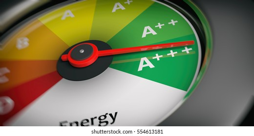 Energy efficiency as car speedometer close up. 3d illustration