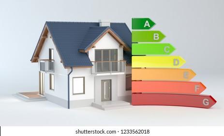 Energy Efficiency - House No.9, 3D illustration