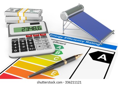 Energy Efficiency Rating with Solar water heater panel on a white background