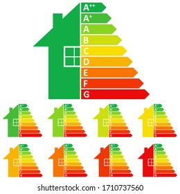 Energy efficiency scale on white background.