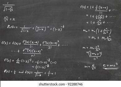 energy formula on chalkboard