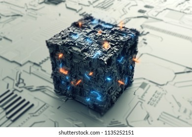 Energy of the future in cube 3D illustration