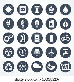 Energy icon set. Flat cartoon power icons. Objects isolated on a white background.