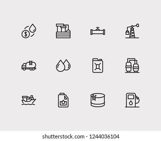 Energy icons set. Oil market and energy icons with tanker truck, engine oil and oil drop. Set of raindrop for web app logo UI design.