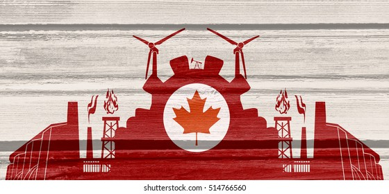 Energy and Power icons set with Canada flag. Sustainable energy generation and heavy industry. Horizontal wooden planks textured backdrop