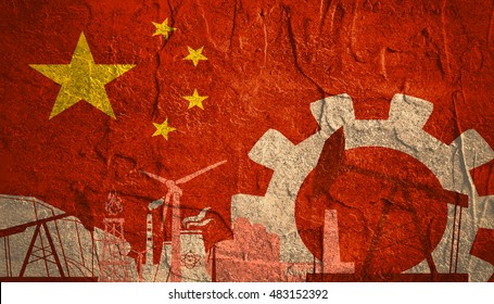 Energy and Power icons set with China flag. Sustainable energy generation and heavy industry.