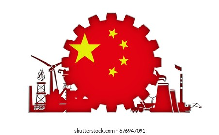 Energy and Power icons set with flag of the China. Sustainable energy generation and heavy industry. 3D rendering.