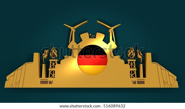 Energy and Power icons set with Germany flag. Sustainable energy generation and heavy industry. 3D rendering. Golden material