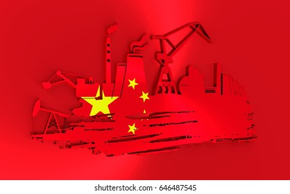 Energy and Power icons set and grunge brush stroke. Energy generation and heavy industry relative image. Flag of the China. 3D rendering