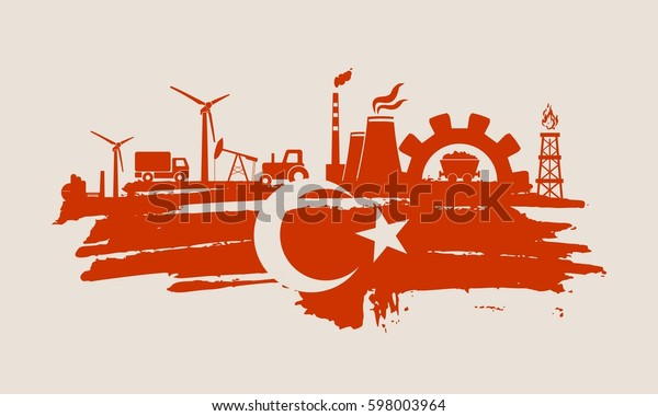 Energy and Power icons set and grunge brush stroke. Energy generation and heavy industry relative image. Agriculture and transportation. Flag of the Turkey