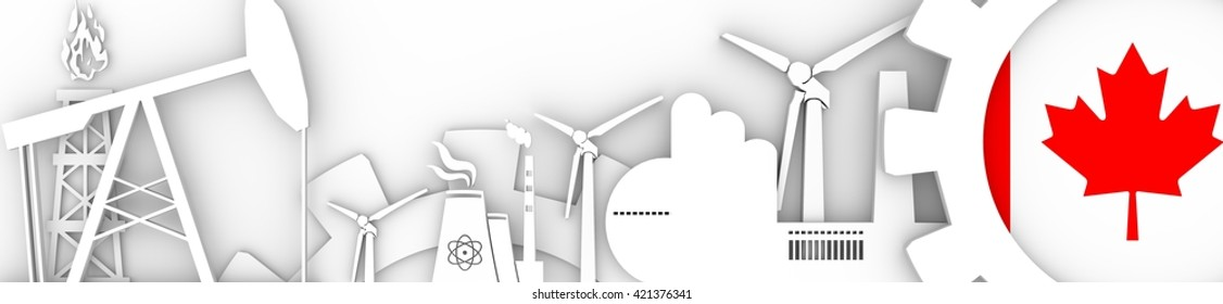 Energy and Power icons set. Header banner with Canada flag. Sustainable energy generation and heavy industry. 3D rendering