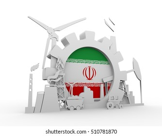 Energy and Power icons set with Iran flag. Sustainable energy generation and heavy industry. 3D rendering