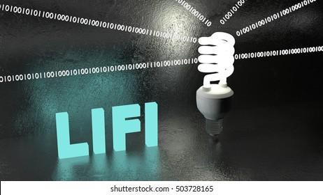Energy saving bulb on a black stone table emitting binary data streams reflecting on the wall 3D illustration LIFI concept