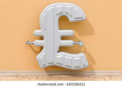 Energy saving concept. Heating radiator in shaped of pound sterling. 3D rendering