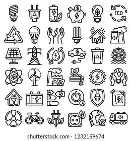Energy saving icon set. Outline set of energy saving icons for web design isolated on white background