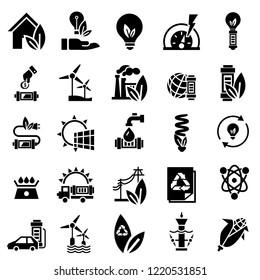 Energy saving icon set. Simple set of energy saving icons for web design on white background