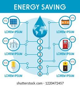 Energy saving infographic. Flat illustration of energy saving infographic for web design