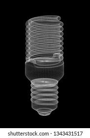 Energy Saving Light Bulb Architect blueprint 3D renderings