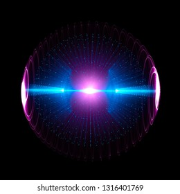 Energy Sphere With Glowing Core. Concept For Antigravity, Magnetic Field, Nuclear Fusion