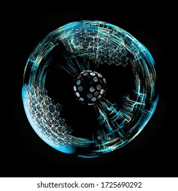 Energy Sphere With Glowing Core. Concept For Antigravity, Magnetic Field, Nuclear Fusion, 3d rendering