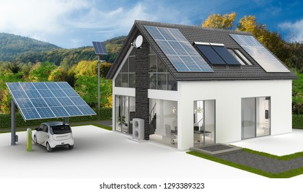Energy supply at a single family house - landscape background - 3d illustration