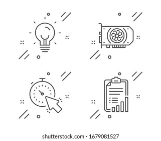 Energy, Timer and Gpu line icons set. Checklist sign. Lightbulb, Time management, Graphic card. Graph report. Technology set. Line energy outline icon.