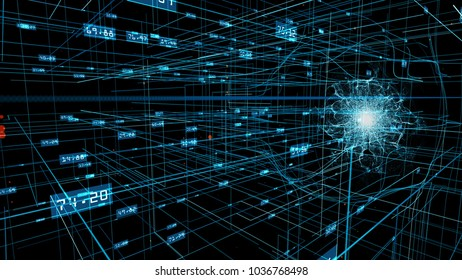 Energy wave over a blue network grid and data connections. Science, technology, communications or social media background. 3D rendering.