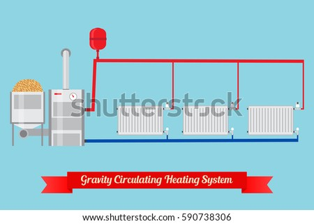 Energysaving Heating System Pellet Boiler Heating Stock Illustration ...