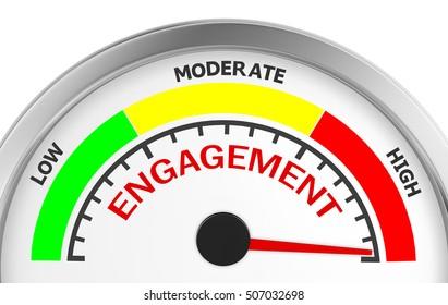 Engagement level to maximum conceptual meter, 3d rendering