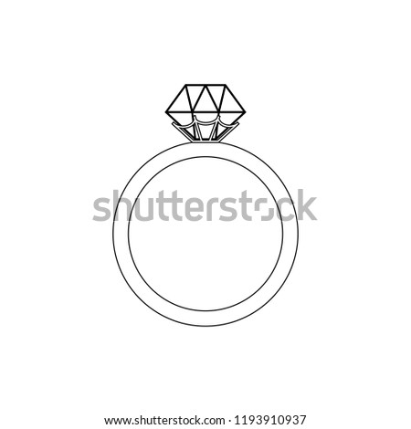 Engagement Ring Coloring Page On White Stock Illustration Royalty