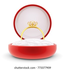 Engagement ring, gold wedding ring with big diamond in red velvet gift box, isolated on white background, 3d illustration