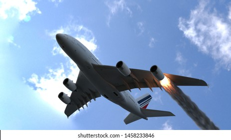 The engine of the aircraft caught fire and burns with the release of black smoke. 3D Rendering