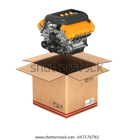 engine cardboard box concept sale delivery stock illustration