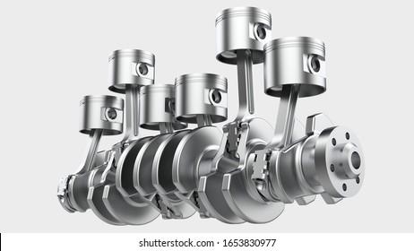 Engine crank shaft isolated on background. 3d rendering - illustration